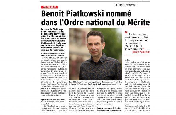 Benoît Piatkowski nommé dans l'Ordre national du Mérite
